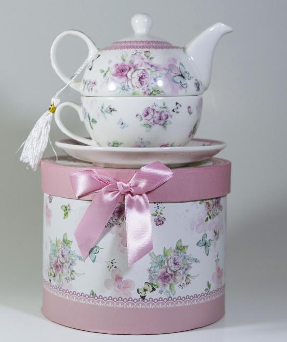 Set cu ceainic, ceasca si farfurie, portelan, Multicolor, 400 ml 1