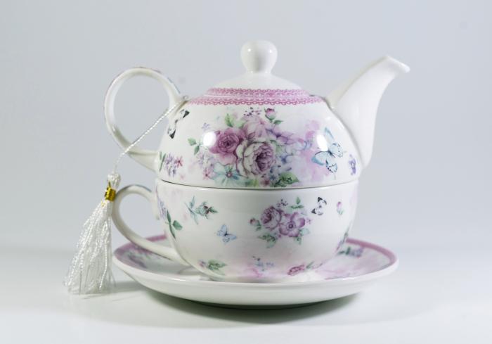 Set cu ceainic, ceasca si farfurie, portelan, Multicolor, 400 ml 0