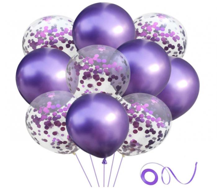 Set 10 Baloane Pentru Petrecere, Mov/Confetti [0]