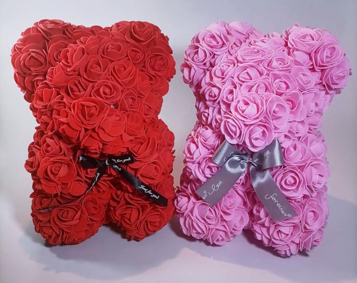 Ursulet floral decorat manual cu trandafiri de spuma Roz 25cm 1