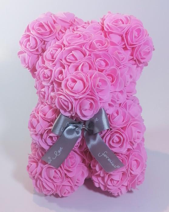 Ursulet floral decorat manual cu trandafiri de spuma Roz 25cm 0