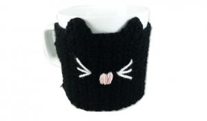 Cana cu hainuta crosetata pisica, negru, 300ml1