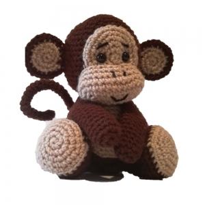 Jucarie crosetata manual Maimuta cu umplutura hipoalergenica, maro, 18 cm1