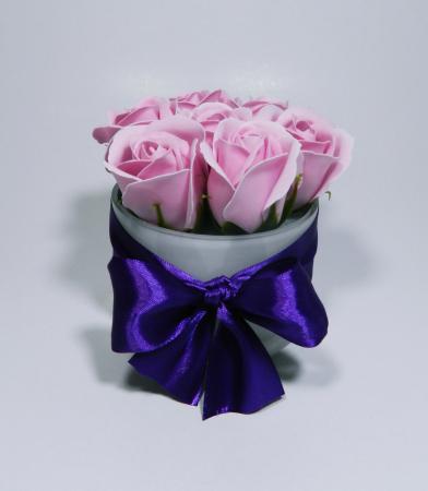 Aranjament Flori Sapun Parfumate in Vas sticla1