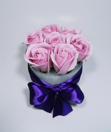 Aranjament Flori Sapun Parfumate in Vas sticla0
