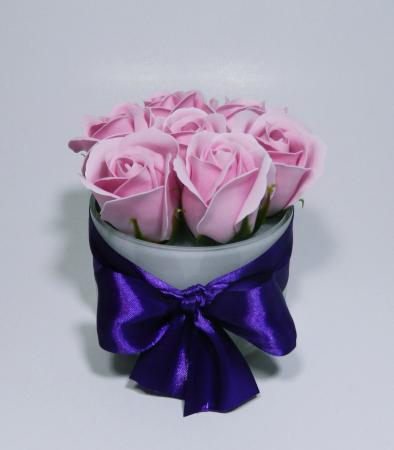 Aranjament Flori Sapun Parfumate in Vas sticla2