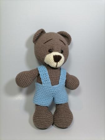 Jucarie crosetata manual, Ursulet cu salopeta albastru, 30 cm1