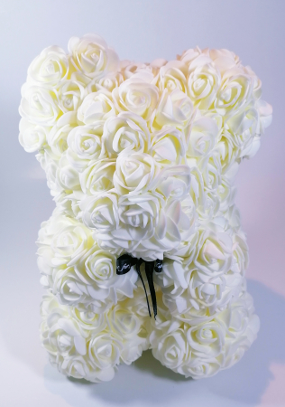 Ursulet floral decorat manual cu trandafiri de spuma Crem 25cm0