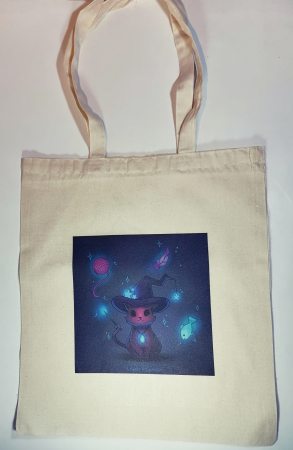 "Sacosa bumbac de umar ""Magic Cat"", 38x42, Crem0"