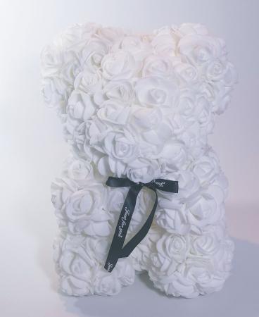 Ursulet floral decorat manual cu trandafiri de spuma Alb 25cm0