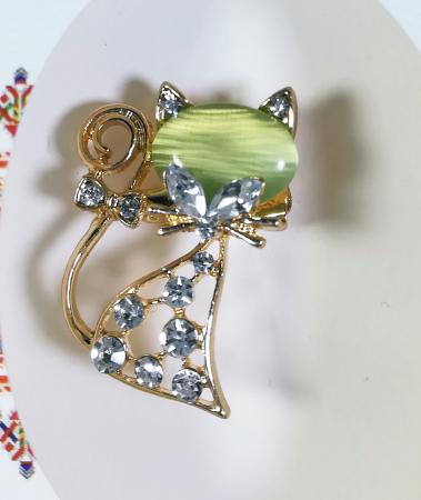 Martisor tip brosa Pisica, Verde, 3cm1