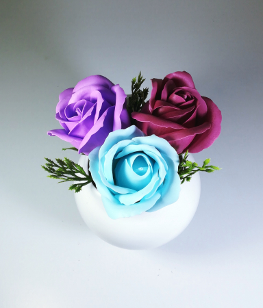 Aranjament Flori Sapun Parfumate in vas1