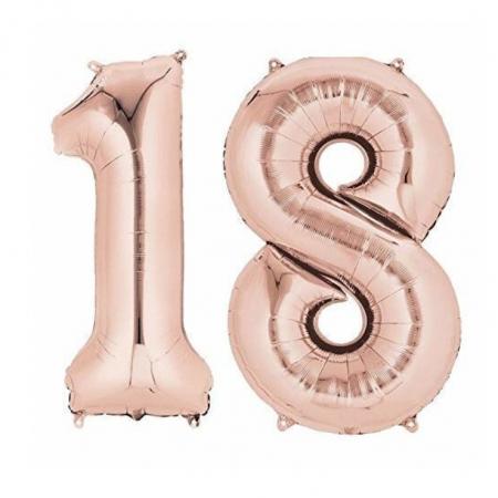 Baloane folie majorat, cifra 18 rose gold, 100 cm [1]