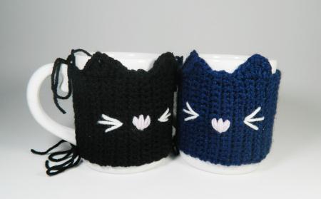 Cana cu hainuta crosetata pisica, negru, 300ml4