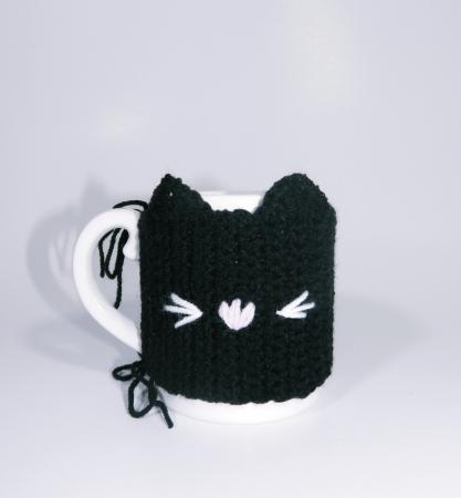 Cana cu hainuta crosetata pisica, negru, 300ml3