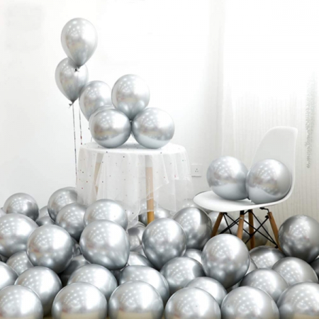 Set 50 baloane cromate , Argintiu, 30 cm [2]