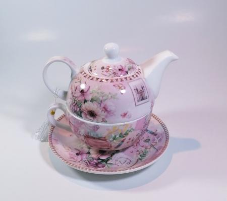 Set cu ceainic, ceasca si farfurie, portelan, Multicolor, 500 ml0