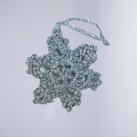 Decoratiune Craciun, Fulg de zapada, Handmade, Crosetat, Argintiu, 8 x 8 cm0