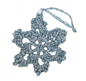 Decoratiune Craciun, Fulg de zapada, Handmade, Crosetat, Argintiu, 8 x 8 cm1