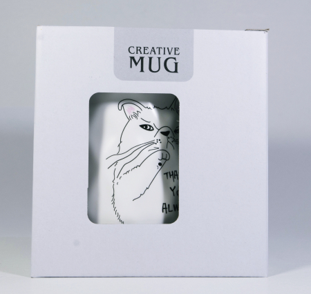 Cana cu lingurita si capac, model Pisica morocanoasa, Alb, 300ml1