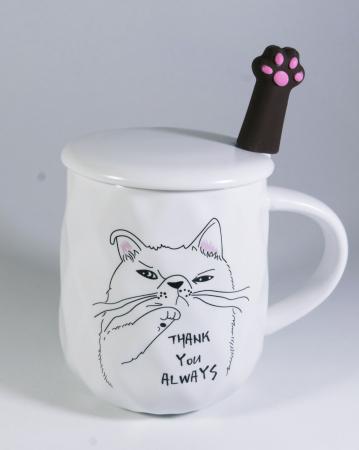 Cana cu lingurita si capac, model Pisica morocanoasa, Alb, 300ml0