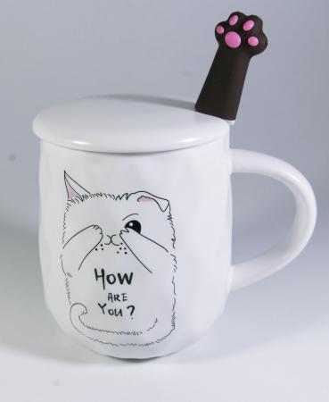 Cana cu lingurita si capac, model Pisica vesela, Alb, 300ml [0]