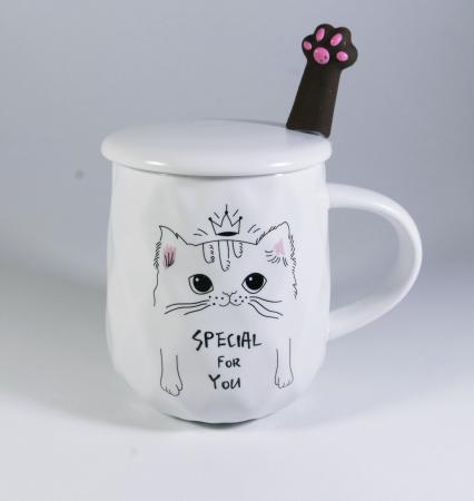 Cana cu lingurita si capac, model Pisica cu coronita, Alb, 300ml [0]