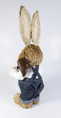 Iepuras Paste Baiat cu lopatica textil fibre naturale 30 cm1