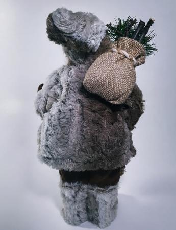 Mos Craciun, cu pulover gri, sac de cadouri si felinar, 30 cm, Gri2
