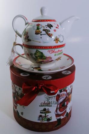 Set ceainic Craciun cu ceasca si farfurie, portelan, Multicolor, 500 ml1
