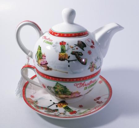 Set ceainic Craciun cu ceasca si farfurie, portelan, Multicolor, 500 ml2