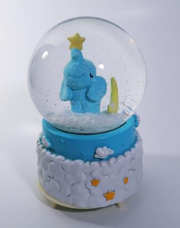 Glob muzical de zapada, model Elefant, multicolor, 14cm0