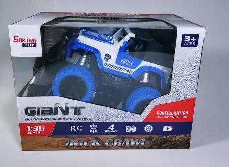 Masina ROCK CRAWL Cu Telecomanda 4WD 1:36, Police, Multicolor0