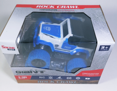 Masina ROCK CRAWL Cu Telecomanda 4WD 1:36, Police, Multicolor [2]