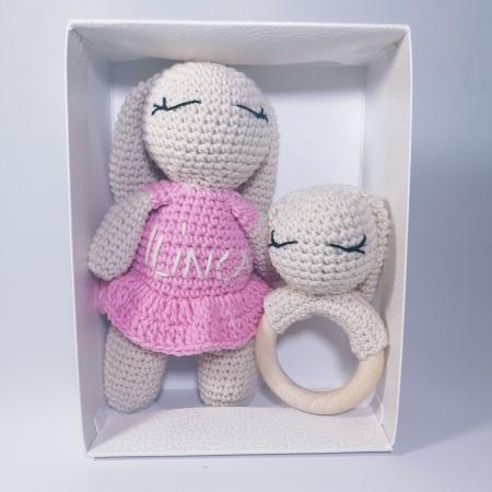 Set cadou jucarii bebelusi, 2 piese crosetate, Personalizat Roz [0]