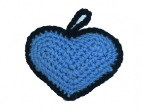 Ornament Crosetat Manual sub forma de Inima, Umplut cu Lavanda, Multicolor, 6 cm1