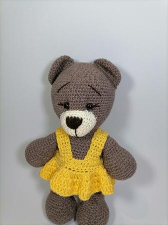 Jucarie crosetata manual, Ursulet cu rochita galbena, 30 cm [1]