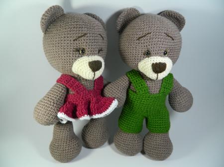 Jucarie crosetata manual, Ursulet cu rochita roz, Umplutura hipoalergenica, 30 cm3