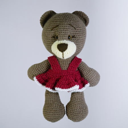 Jucarie crosetata manual, Ursulet cu rochita roz, Umplutura hipoalergenica, 30 cm0