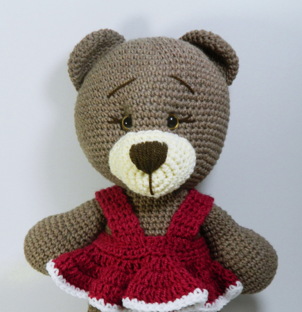 Jucarie crosetata manual, Ursulet cu rochita roz, Umplutura hipoalergenica, 30 cm2