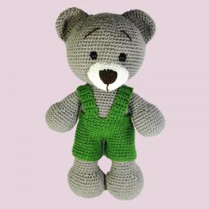 Jucarie crosetata manual, Ursulet cu salopeta verde, Umplutura hipoalergenica, 30 cm2