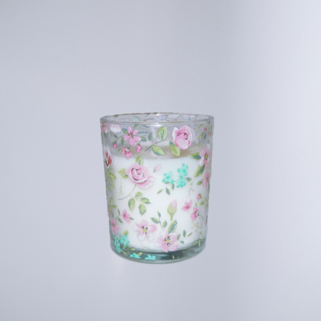 Lumanare decorativa parfumata in borcan, cu aroma de Vanilie, 8x6 cm, alb0