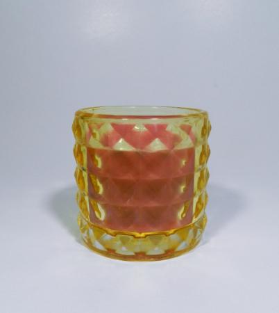 Lumanare decorativa parfumata in borcan galben, 7cm0