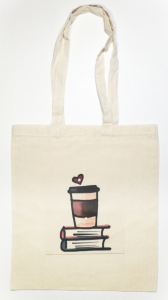 "Sacosa bumbac de umar "" Coffee + Books = Love "", 38x42, Crem"