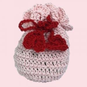 Saculet crosetat manual, Umplut cu flori de lavanda, roz deschis, 7 x 9 cm0