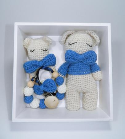 Set cadou jucarii bebelusi, 3 piese crosetate, Albastru0
