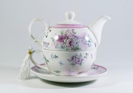 Set cu ceainic, ceasca si farfurie, portelan, Multicolor, 400 ml0