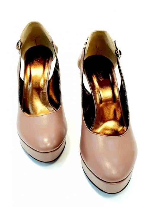 Pantofi cu toc Piele Naturala Roze Izzy D02707 4