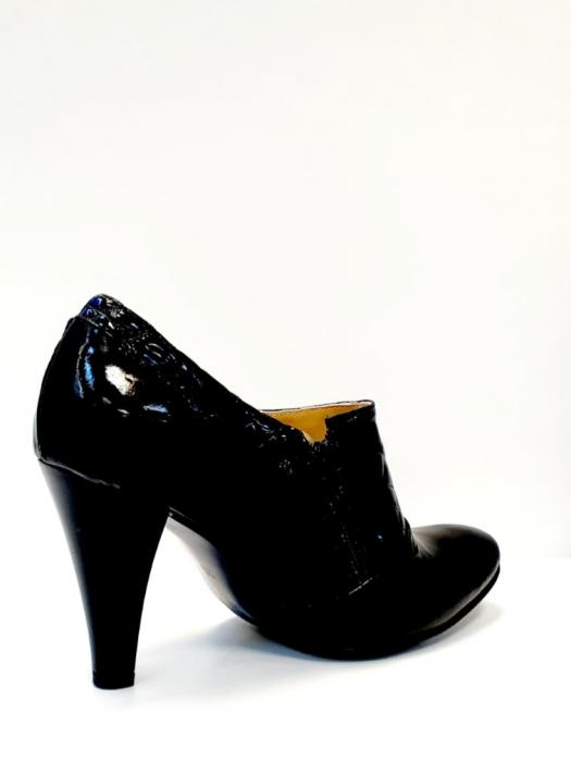 Pantofi cu toc Piele Naturala Negri Teddy D02711 4