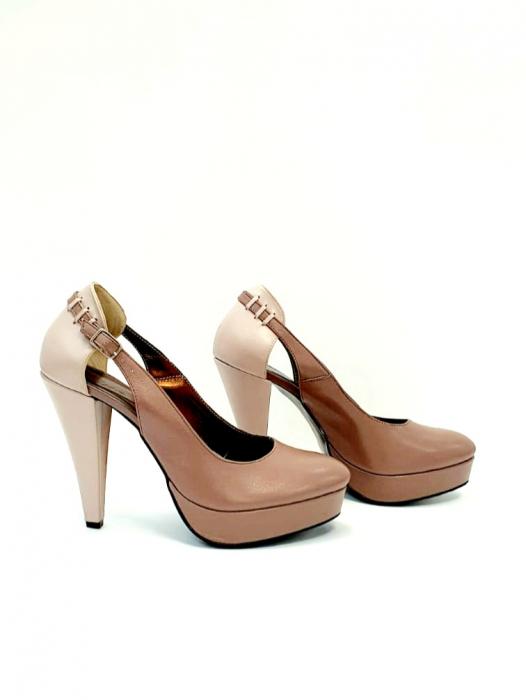 Pantofi cu toc Piele Naturala Roze Izzy D02707 5